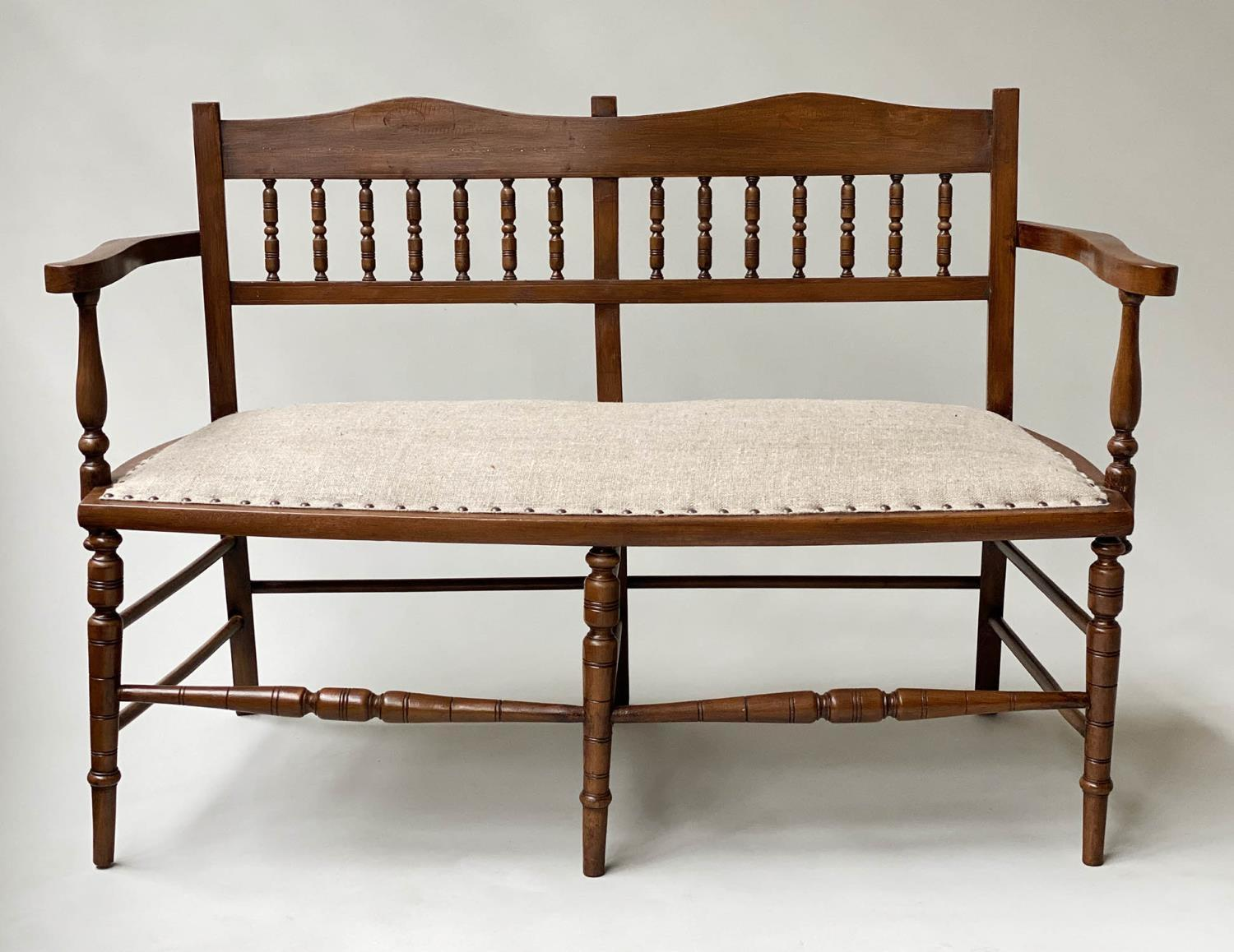 HALL BENCH, early 20th century English studded upholstered seat and turned back and supports,