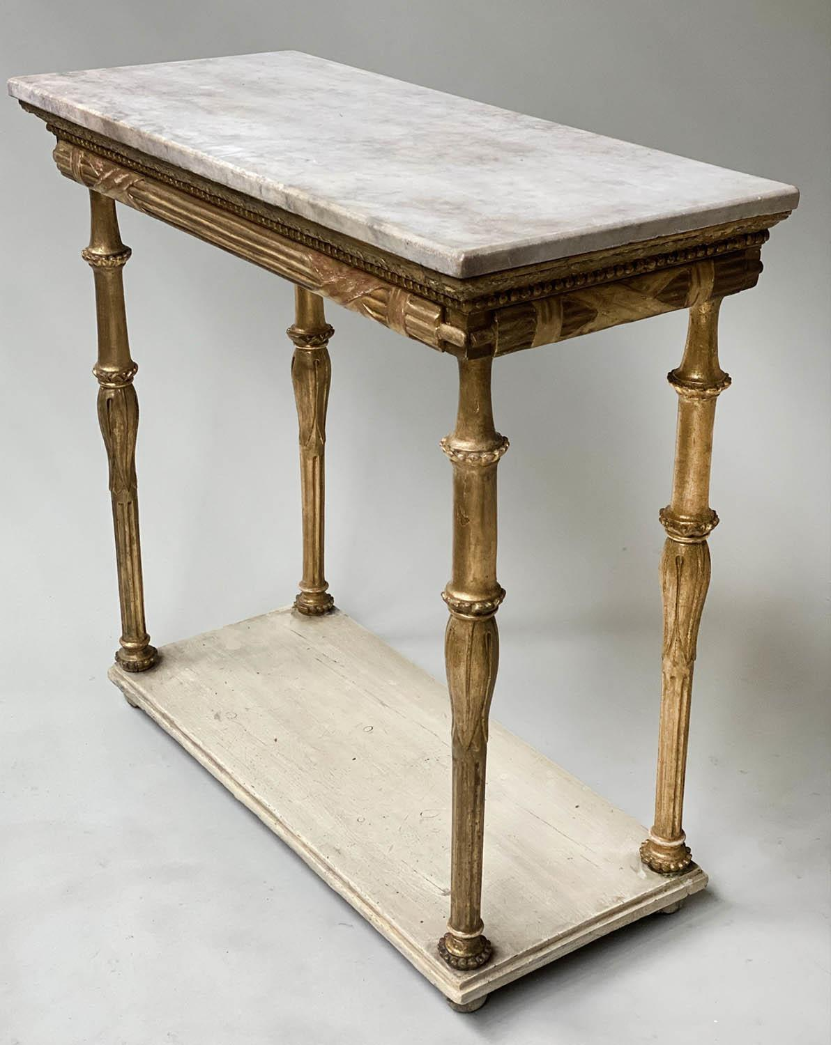 CONSOLE TABLE, early 19th century Italian giltwood with rectangular marble top above lappet and - Image 5 of 8