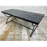 LOW TABLE, Regency design, simulated marble top above a steel base with brass lion head detail and