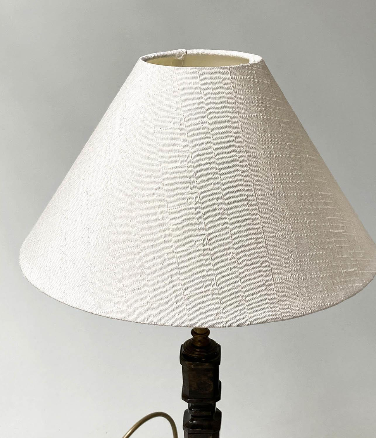 TABLE LAMPS, a pair, patinated bronze, each with faceted square form columns and white silk 'coolie' - Image 3 of 7