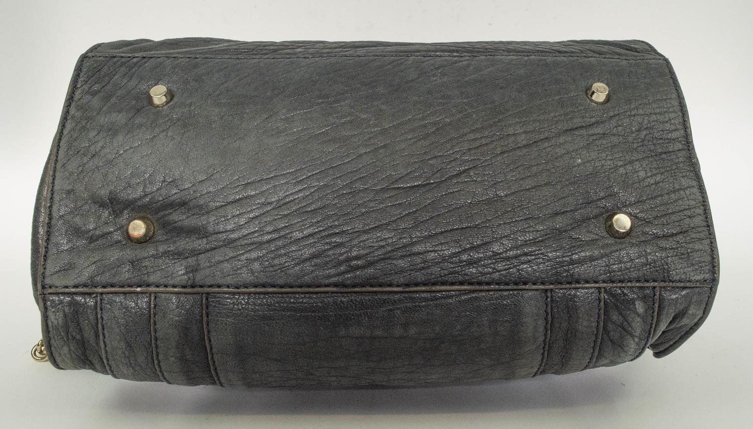 ANYA HINDMARCH SHOULDER BAG, leather with leather and chain strap, gun metal and silver hardware, - Image 6 of 9
