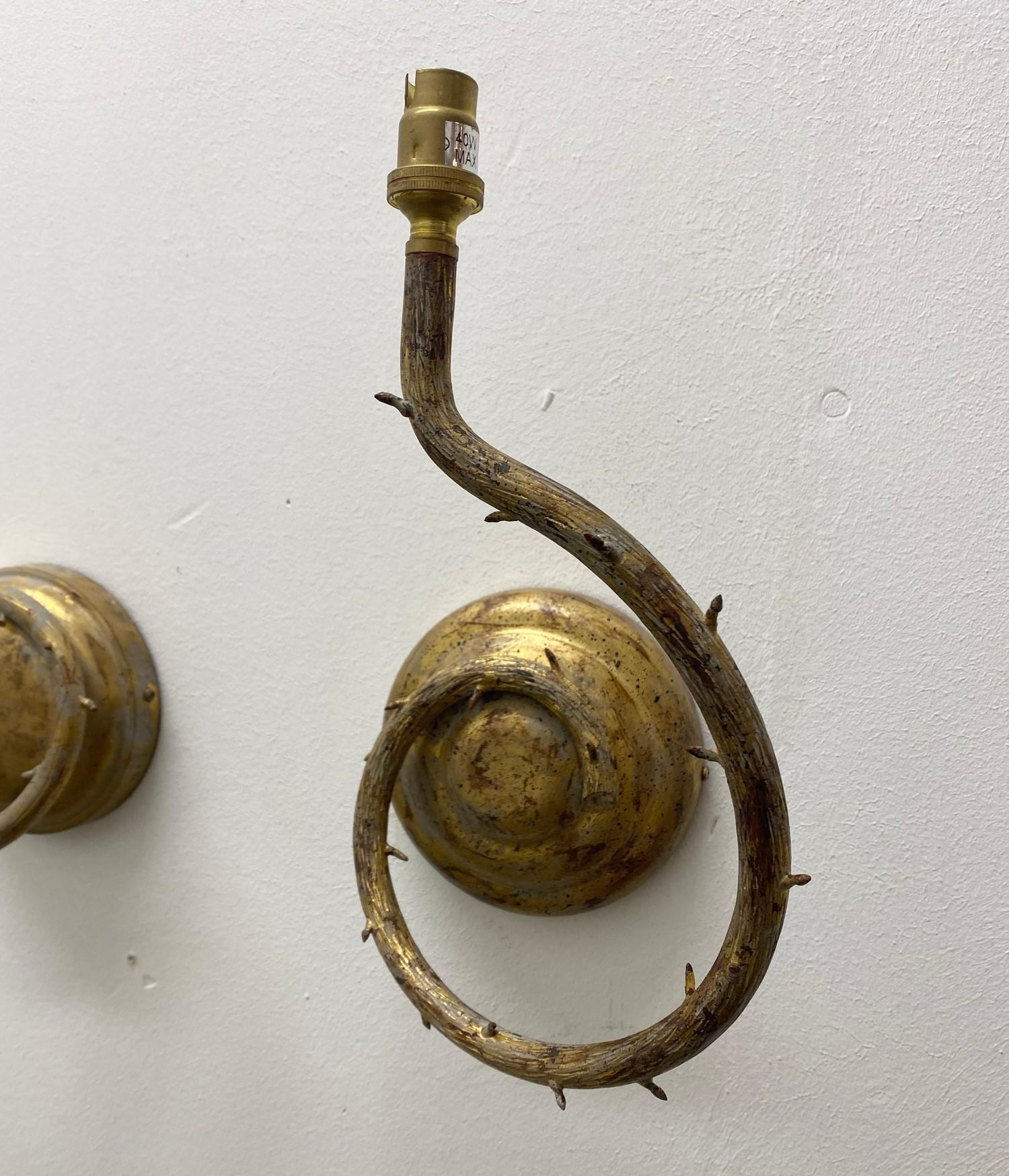 PORTA ROMANA WALL LIGHTS, a near pair, naturalistic branch design in decayed gold, largest 32cm - Image 4 of 5