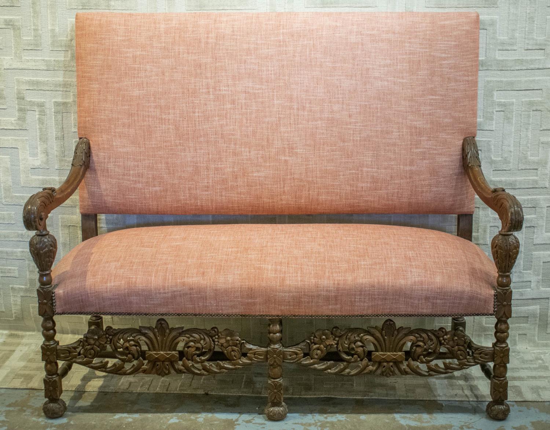 SOFA, late 19th/early 20th century Carolean style walnut in dark pink fabric, 128cm H x 154cm W x