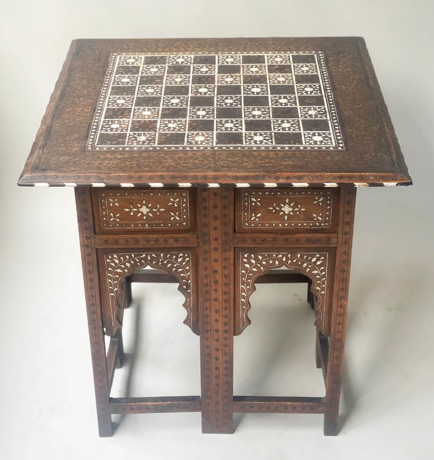 LAMP TABLE, Early 20th century Syrian square hardwood and ebony inlaid with conforming arched