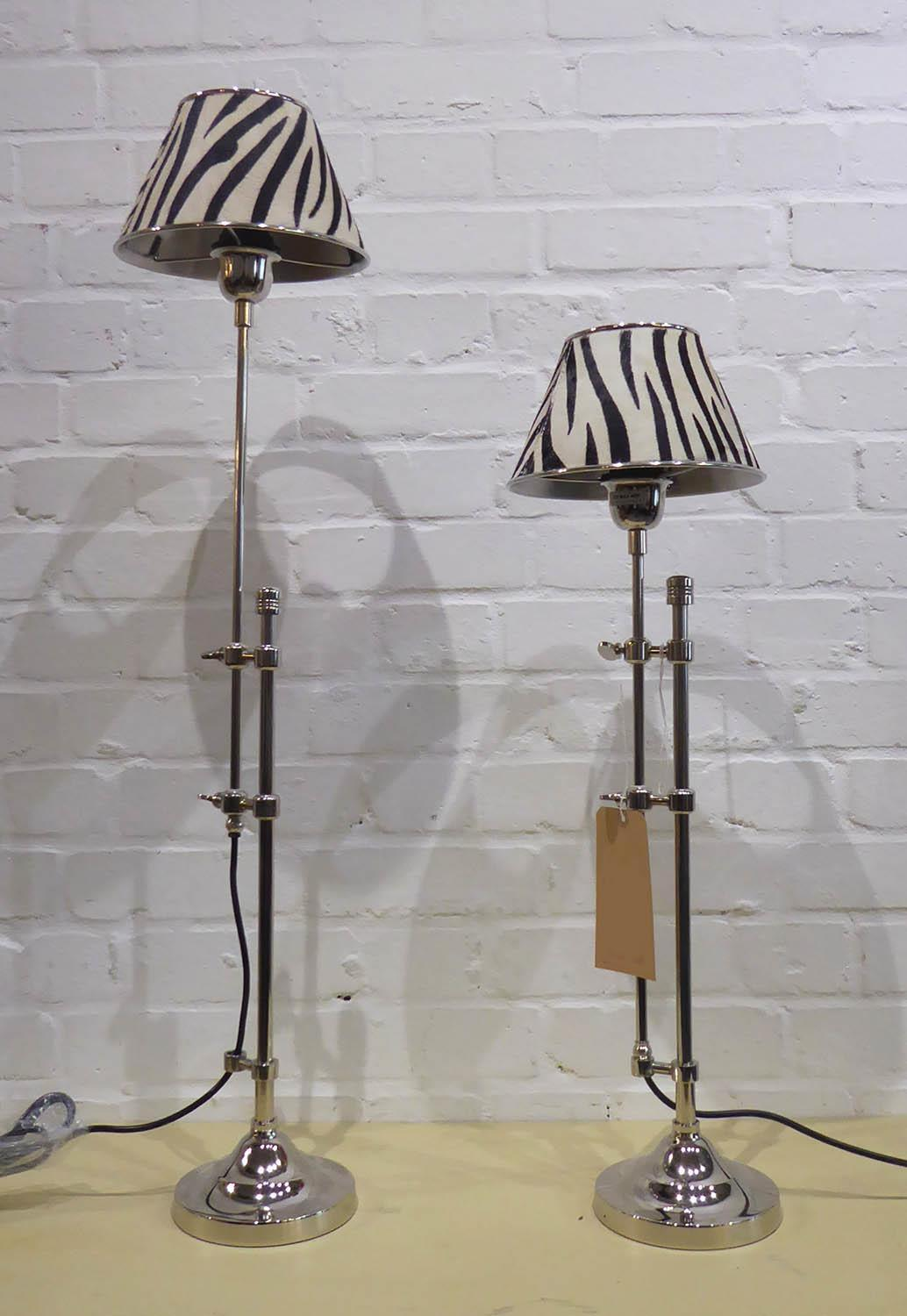 LIBRARY READING LAMPS, a pair, faux zebra skin shades, 89cm at tallest approx. (2)