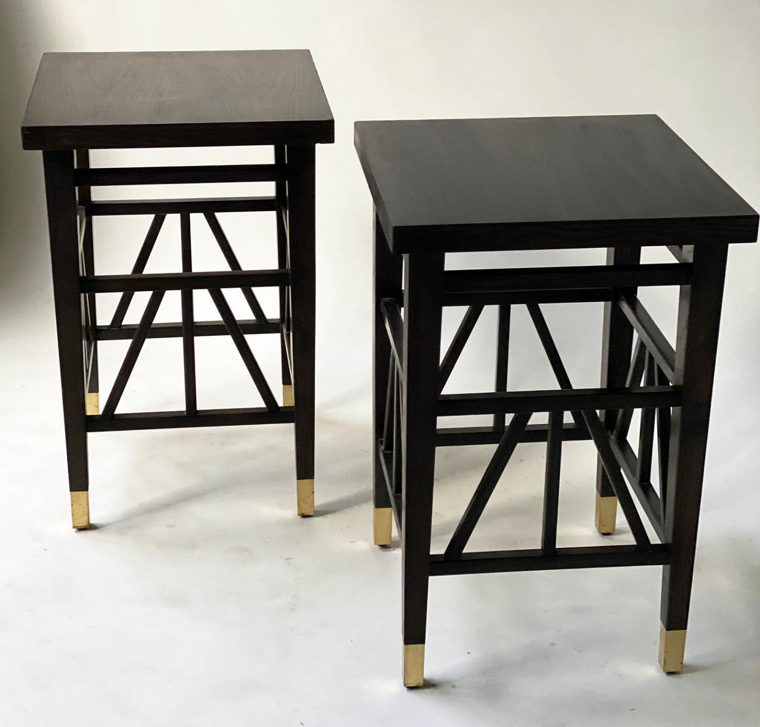LAMP TABLES, a pair, Liberty style black lacquered, square tops with brass tipped supports, 40cm x - Image 4 of 5