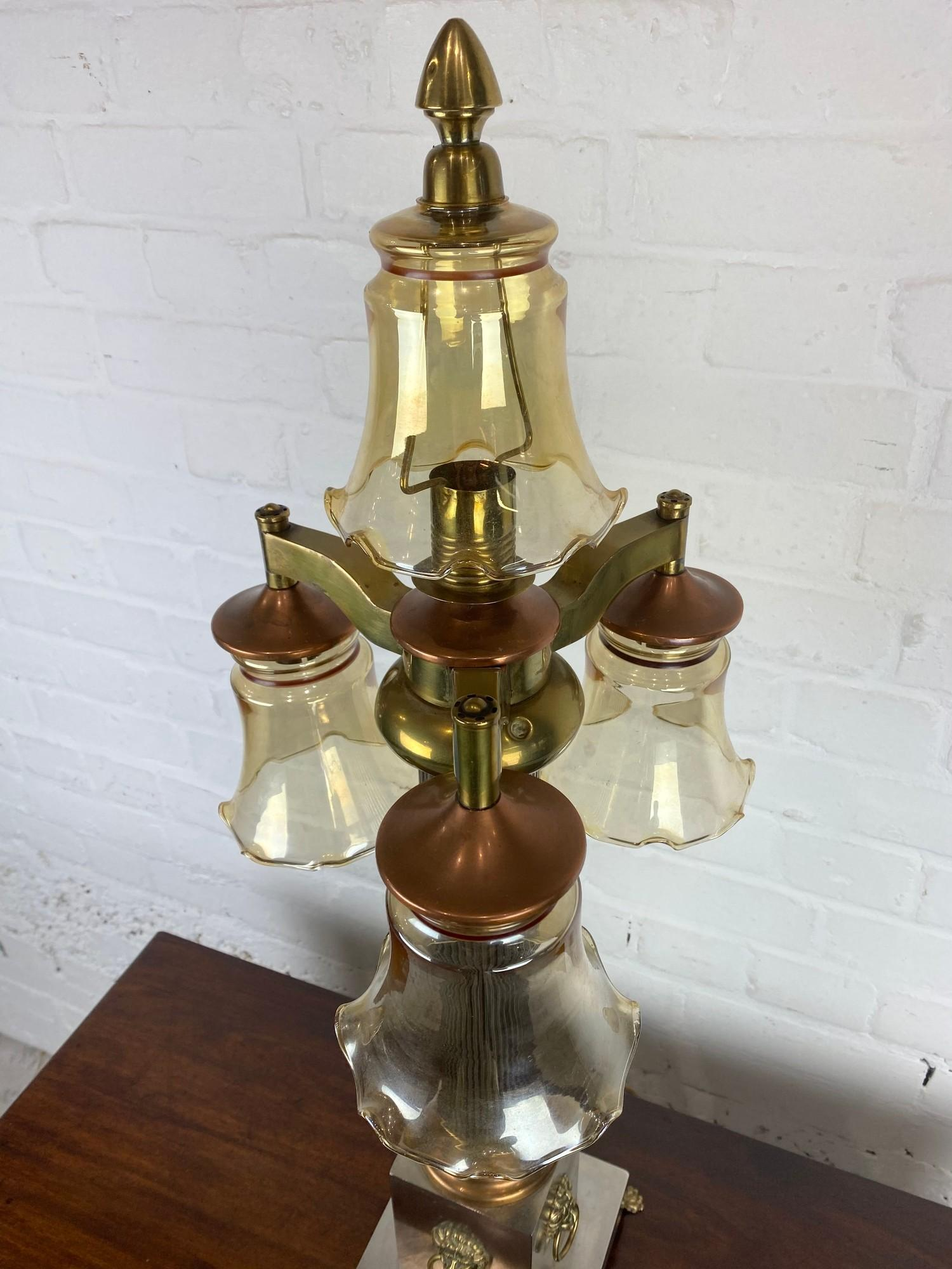 COLUMN HALL LAMP, early 20th century English silver plate, copper and brass four branch, with lion - Image 8 of 8