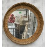 WALL MIRROR, wicker with distressed circular plate, 66cm D.
