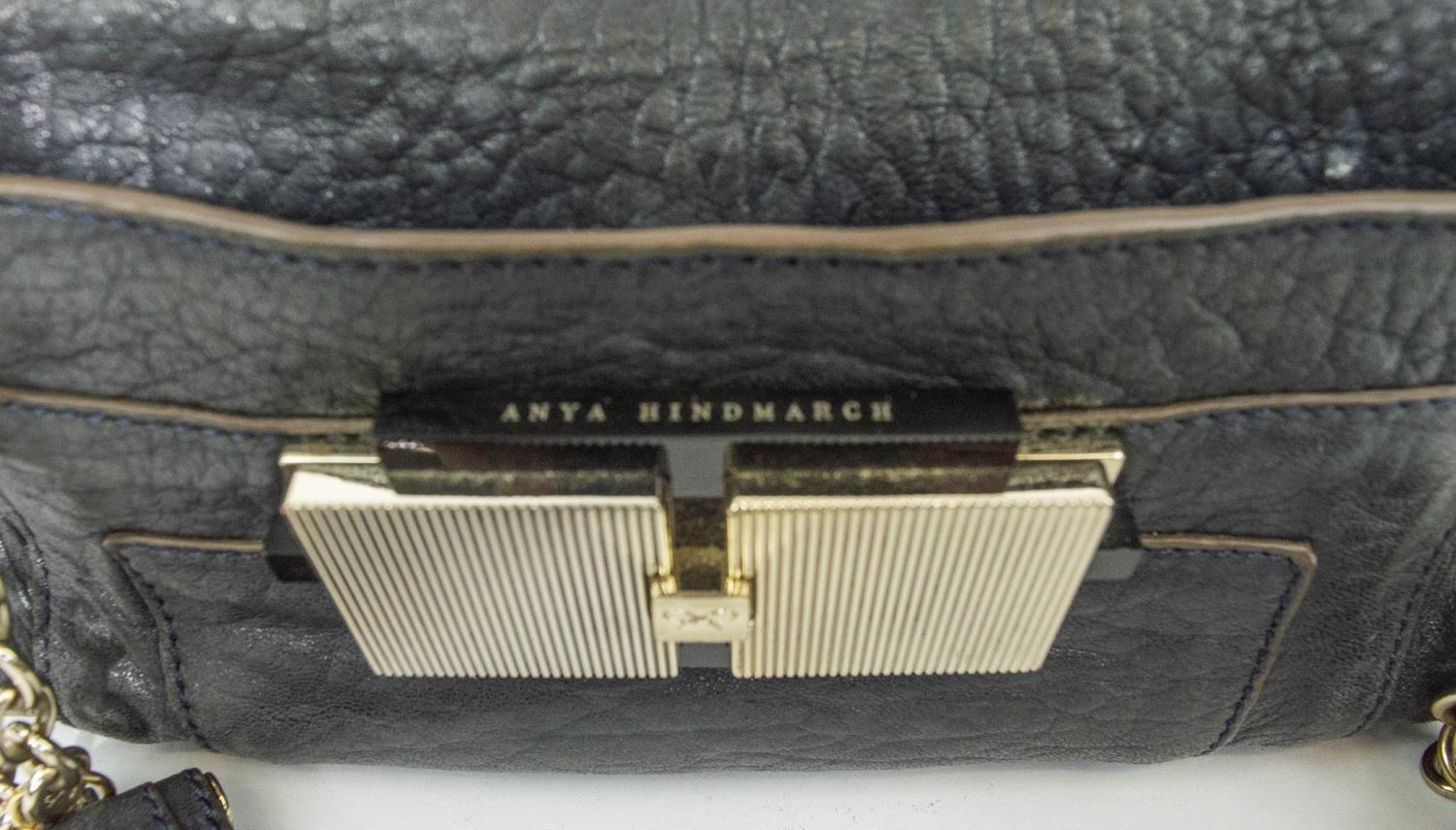 ANYA HINDMARCH SHOULDER BAG, leather with leather and chain strap, gun metal and silver hardware, - Image 2 of 9