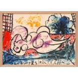PABLO PICASSO 'Woman Sleeping', on silk, 42cm x 60cm. (Subject to ARR - see Buyers Conditions)