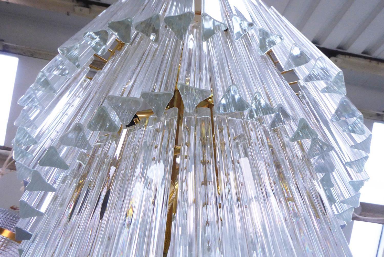 MURANO CHANDELIER, vintage Triedri glass spiral, gilt metal frame, 52cm diam x 150cm drop. (a few - Image 4 of 4