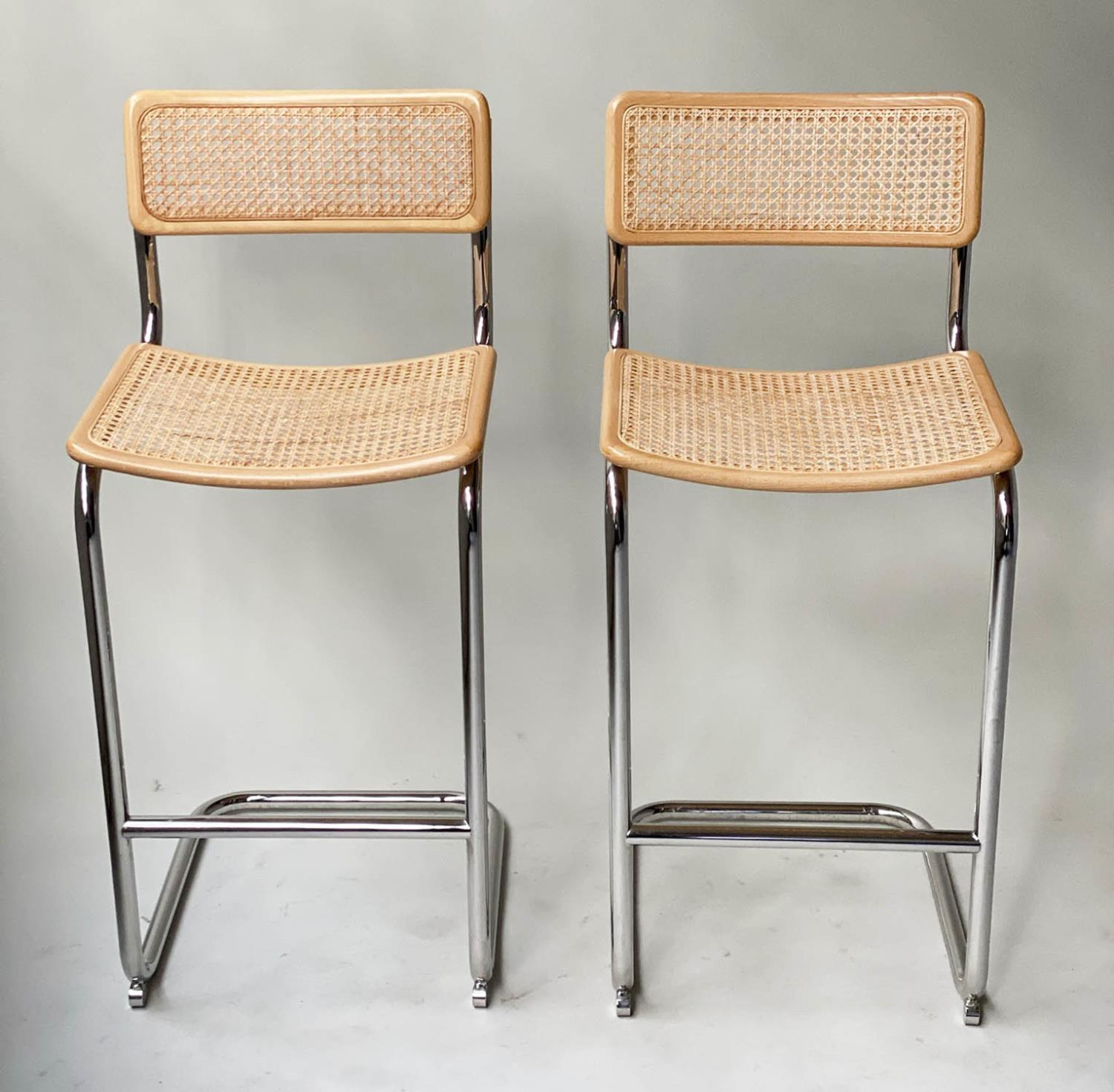 MARCEL BREUER INSPIRED BAR CHAIRS, a pair, Cesca style design, beechwood, cane panelled and chrome
