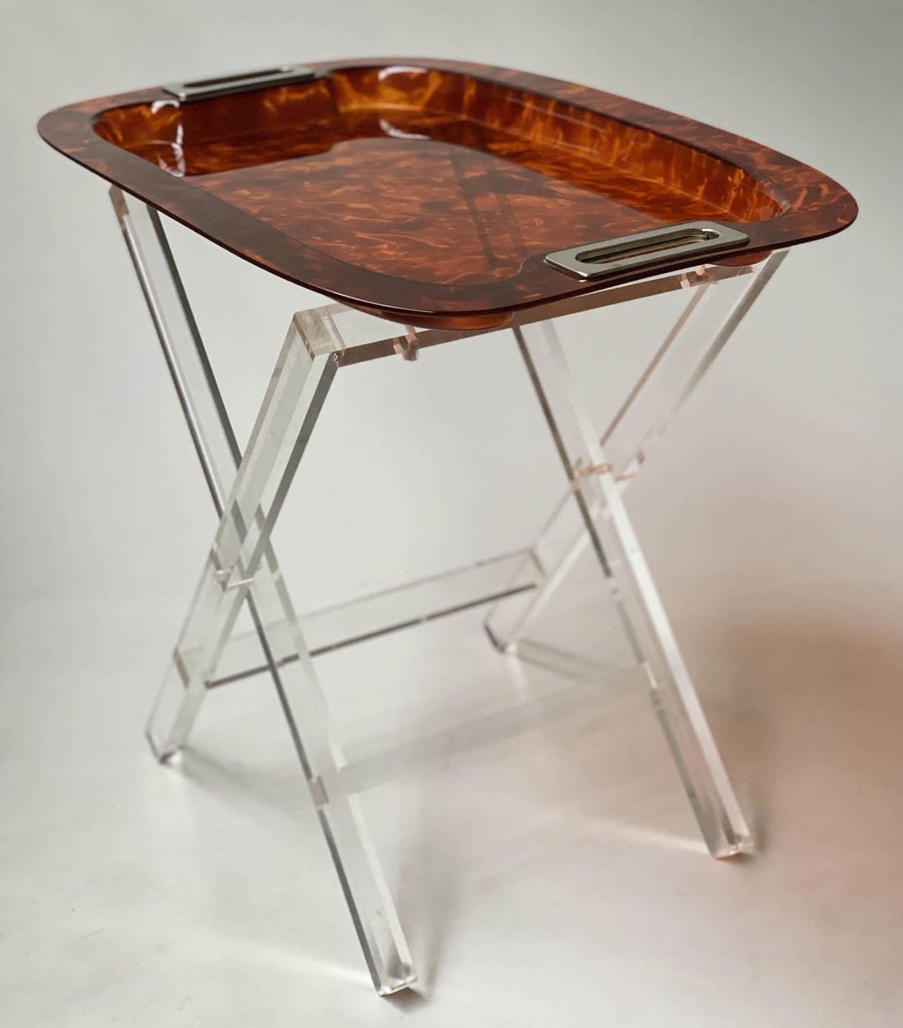 TRAY ON STAND, rectangular faux tortoiseshell with silvered metal handles on folding lucite stand, - Image 5 of 8