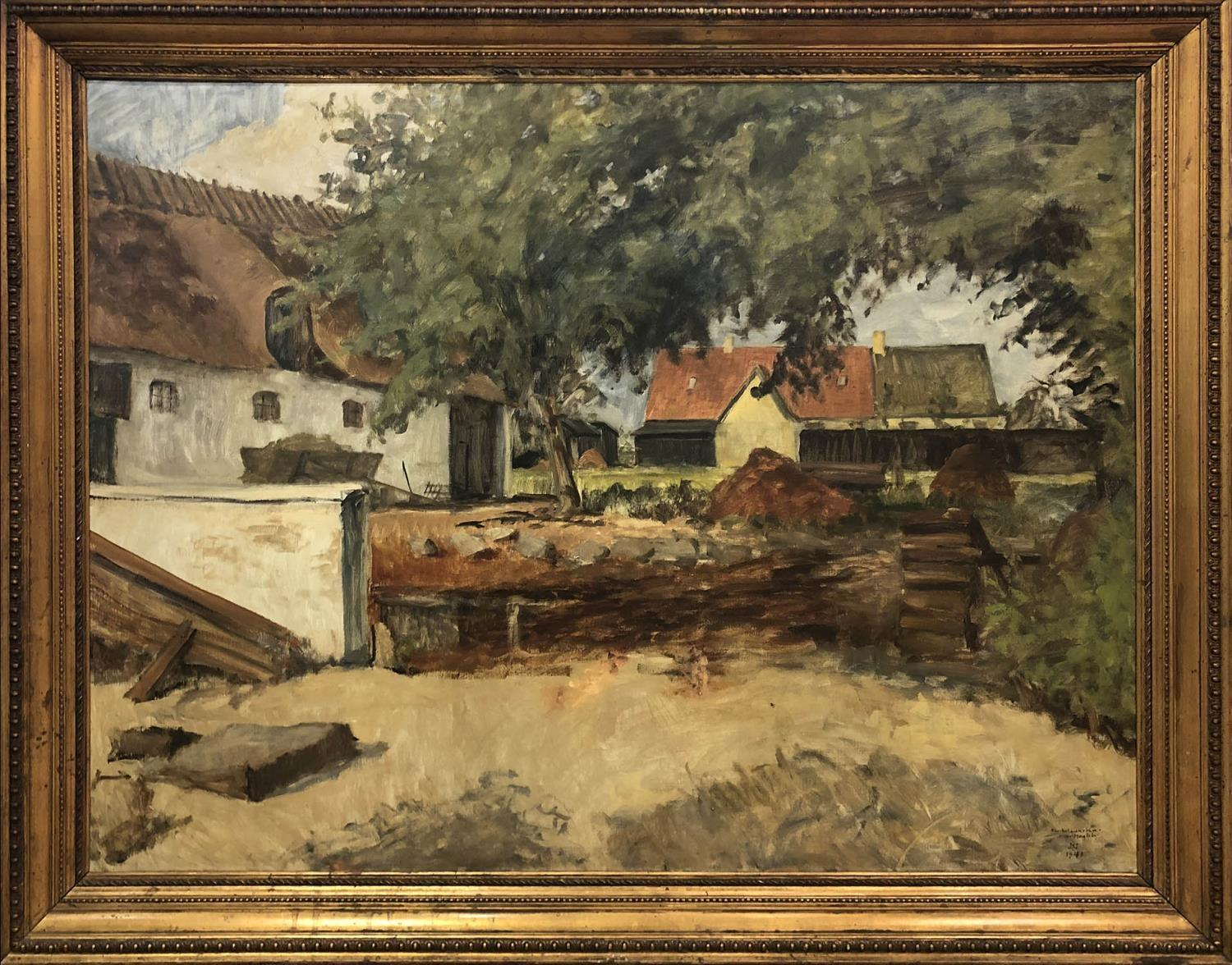 NIELS CHRISTIANSEN (1873-1960) 'Landscape with Farm', oil on canvas, signed and dated 1941 and