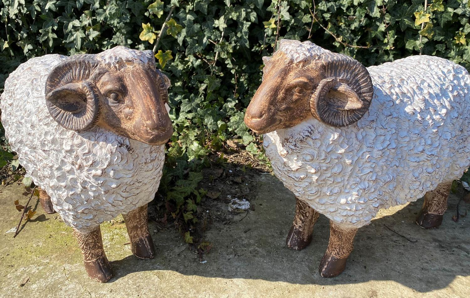 SCULPTURAL RAMS, a pair, stylised finish, 50cm H. (2)