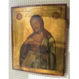 RUSSIAN ICON 'St John with Cup of Christ', tempera, gilt and gesso on wood, 54cm x 44cm.
