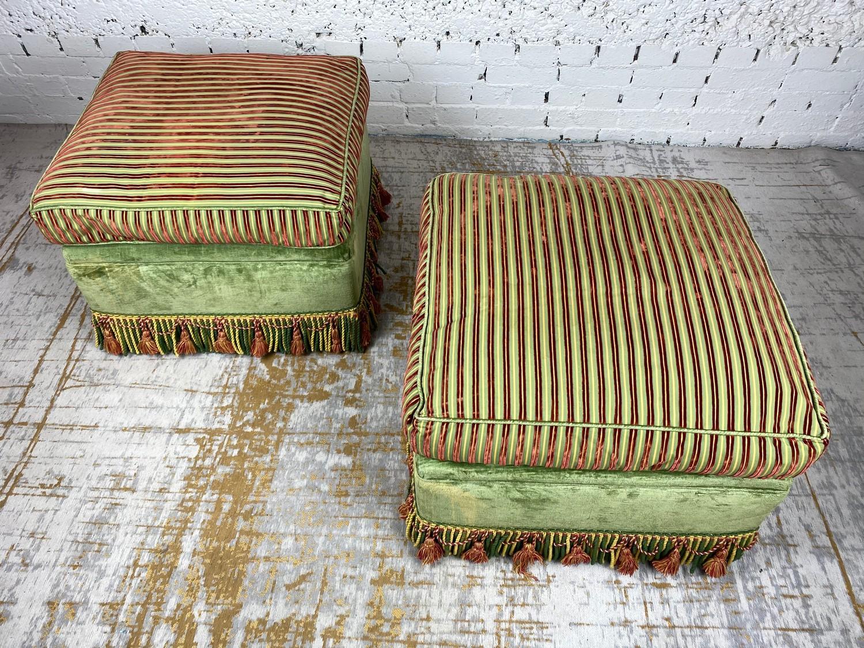 OTTOMANS, a pair, striped silk and green velvet upholstered with tasseled bullion fringes, 47cm H - Image 6 of 6