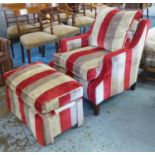 DAVID SEYFRIED ARMCHAIR, with red, beige and brown striped upholstery, 81cm W x 85cm H and a