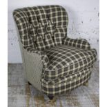 ARMCHAIR, grey check upholstered with cushion seat, 84cm H x 69cm x 81cm.