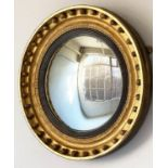 CONVEX WALL MIRROR, Regency period giltwood with ball encrusted frame, ebonised slip and convex