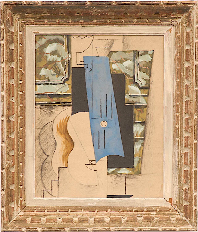 PABLO PICASSO 'Guitar', rare pochoir on velin d'arches paper, after the 1913 Picasso's gouache