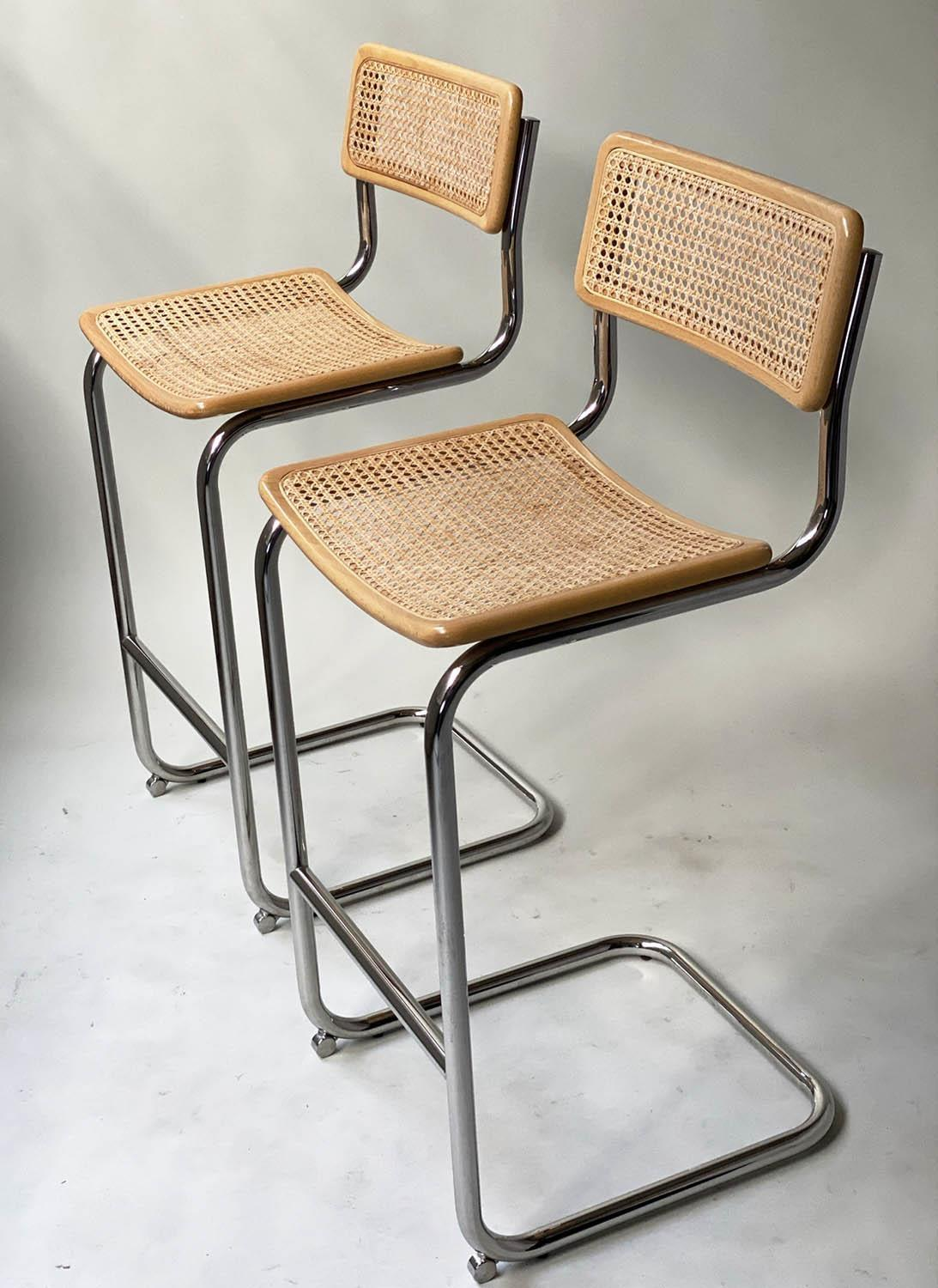 MARCEL BREUER INSPIRED BAR CHAIRS, a pair, Cesca style design, beechwood, cane panelled and chrome - Image 7 of 7