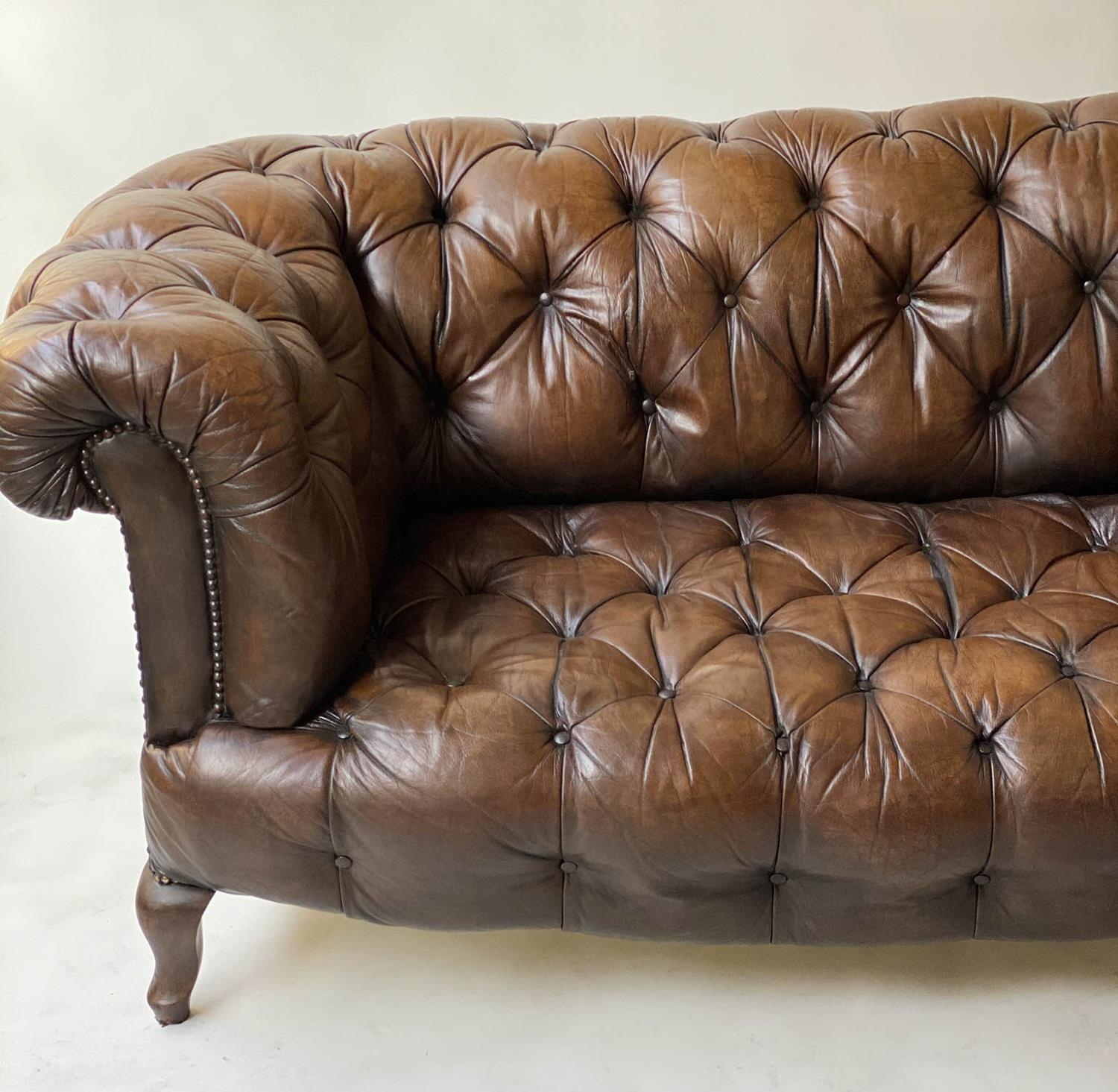 CHESTERFIELD SOFA, early 20th century Edwardian aged and faded brown leather with horsehair buttoned - Image 2 of 10