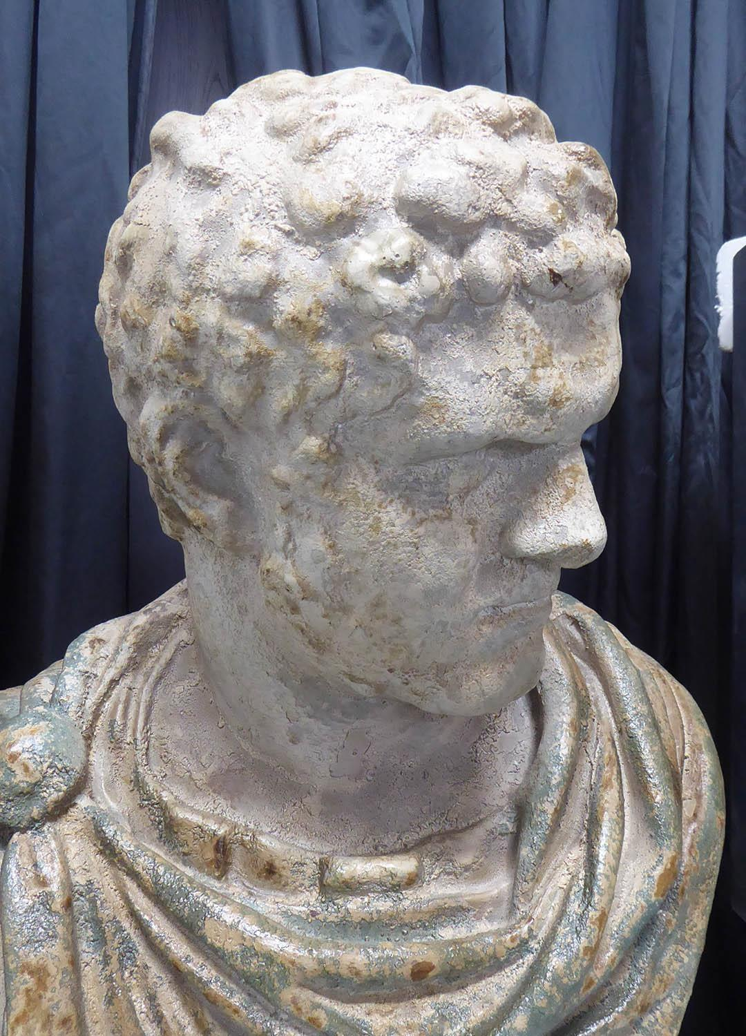 CLASSICAL STYLE BUST, on pedestal, faux aged stone finish, 111cm H approx. (2) - Image 2 of 4