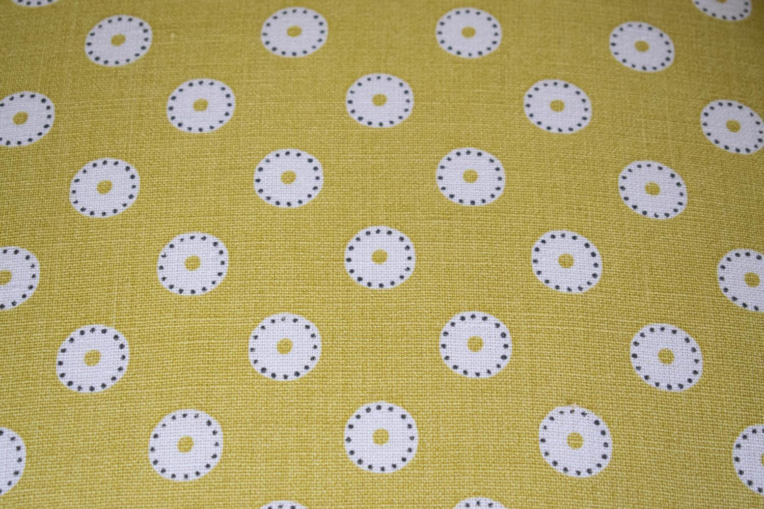 ARMCHAIR, Georgian style in yellow and white dot patterned fabric, 86cm H x 66cm x 66cm. - Image 3 of 3