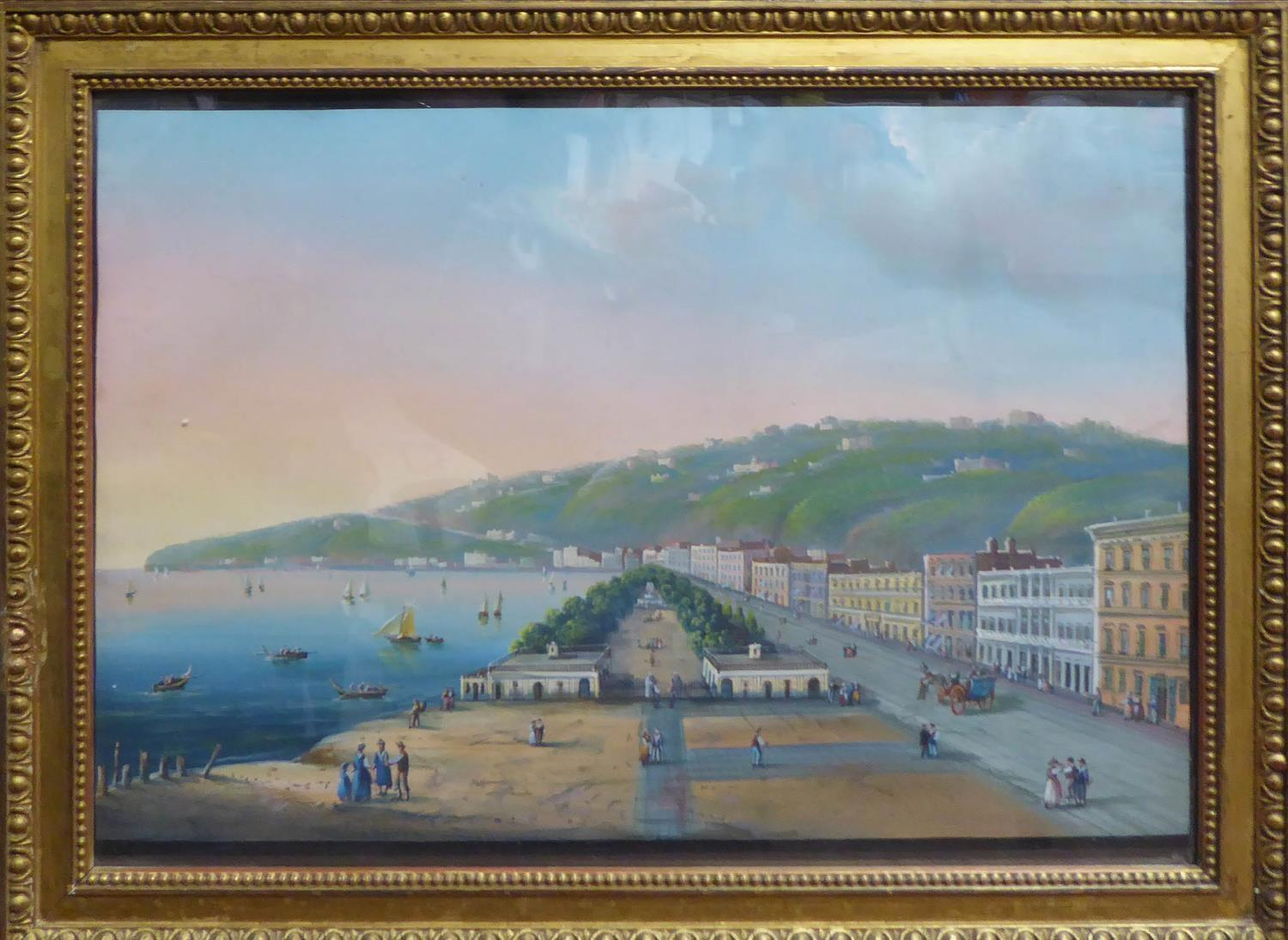 19th CENTURY ITALIAN SCHOOL 'The Bay of Naples' and 'Seafront Promenade Naples', a pair of gouaches,