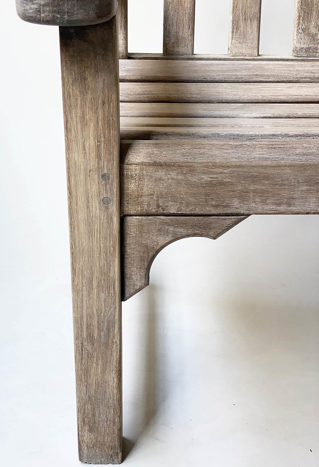 GARDEN BENCH, weathered teak of slatted construction with flat top arms, 160cm W. - Image 4 of 6