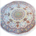 FINE PART SILK PERSIAN TABRIZ CIRCULAR RUG, 205cm.