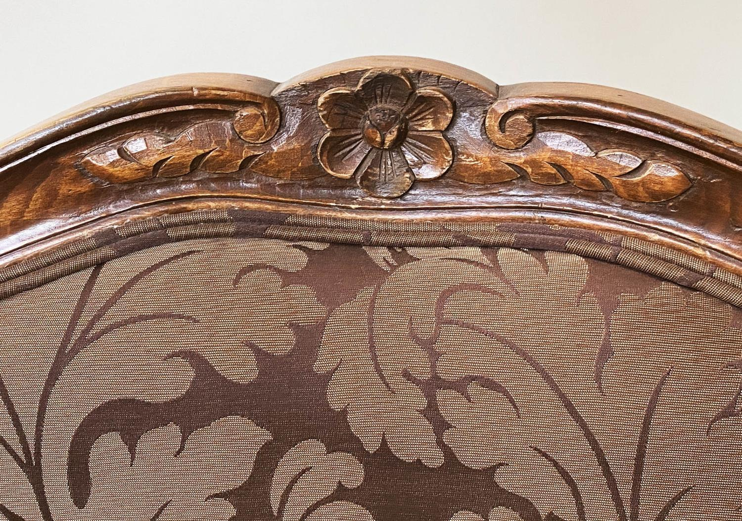 FAUTEUILS, a pair, French Louis XV style, stained walnut, with two tone brown leaf silk - Image 4 of 9