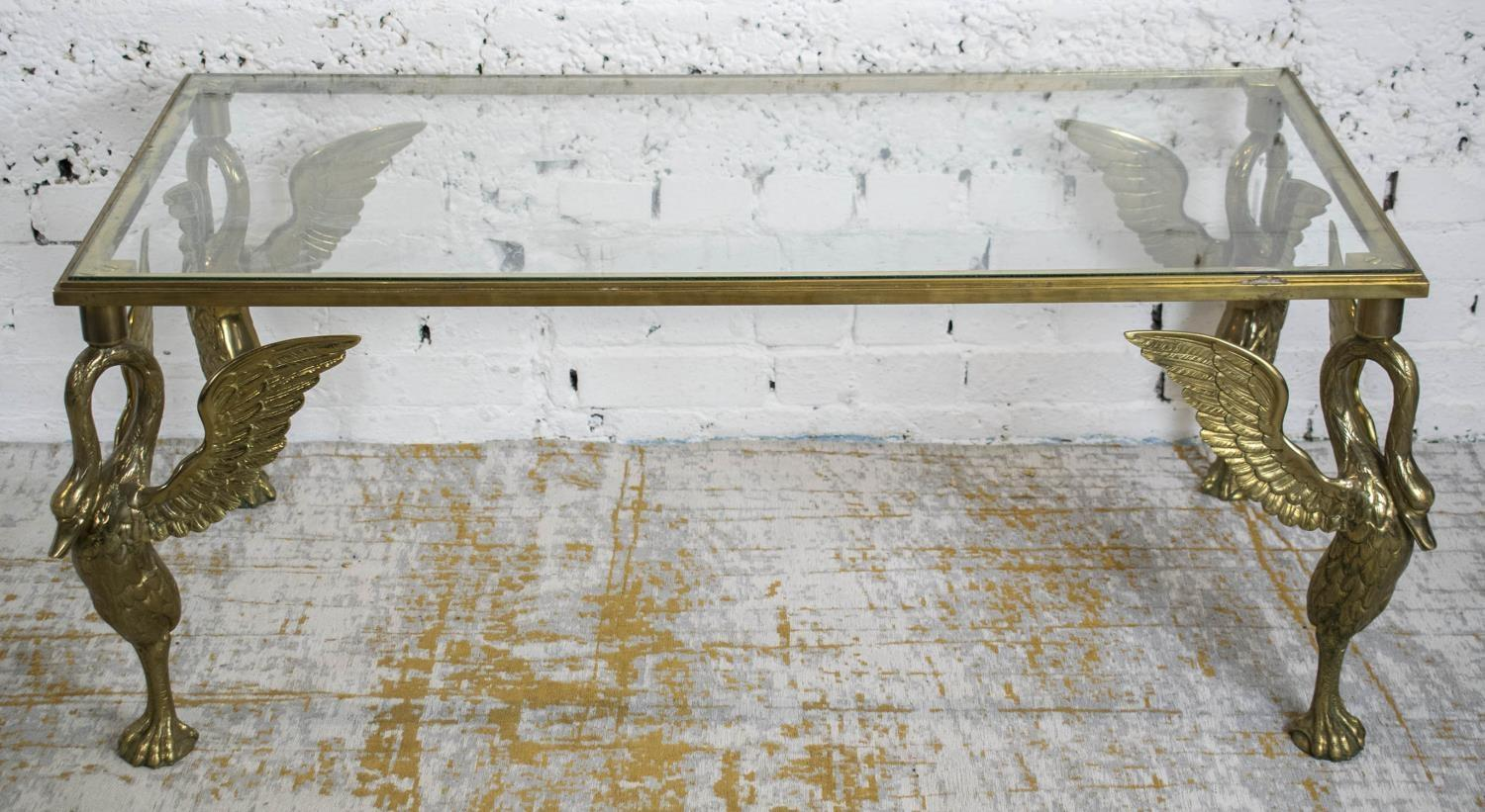 LOW TABLE, 20th century brass with rectangular glass top on swan supports, 51cm H x 127cm W x 66cm - Image 2 of 3