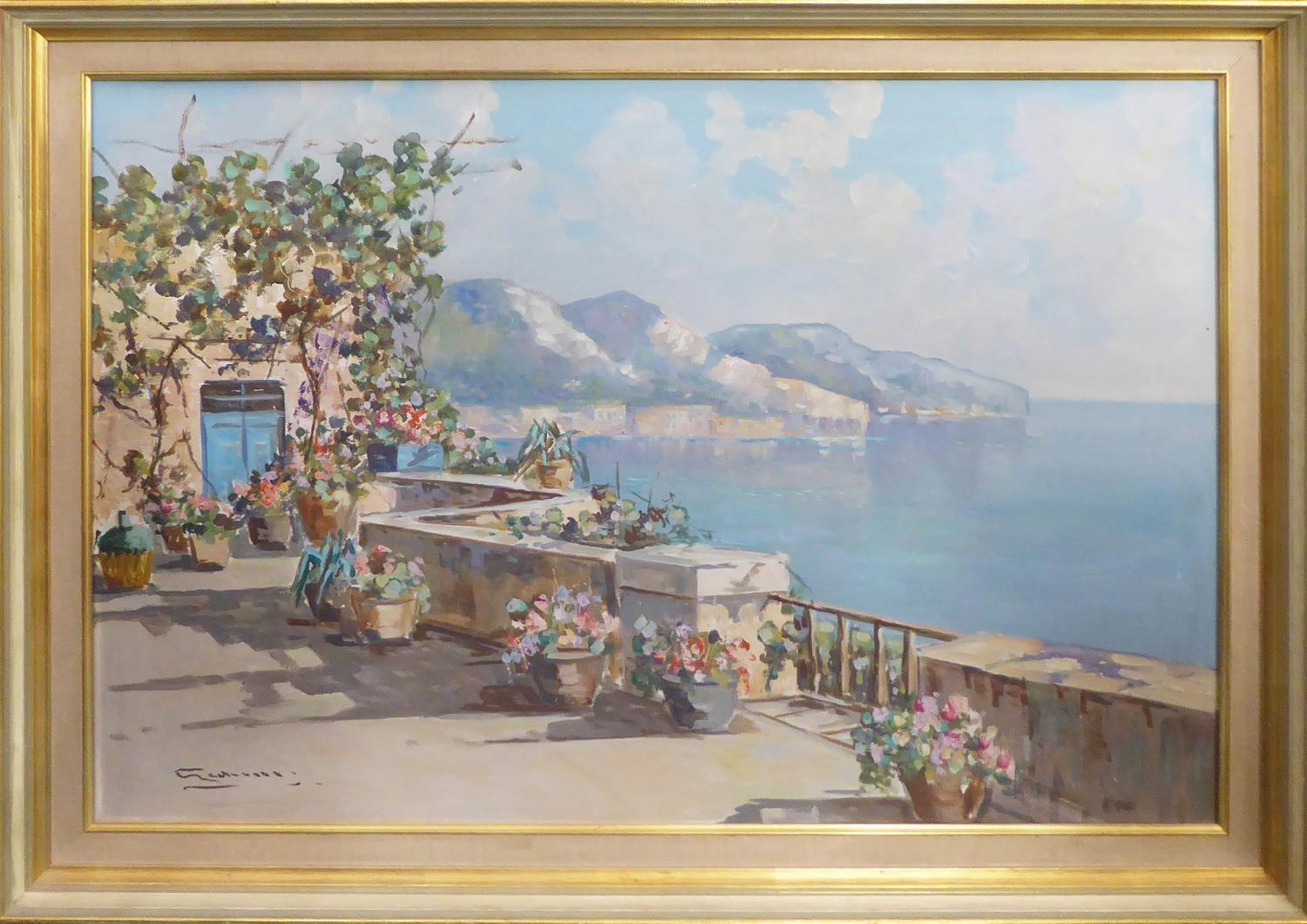 20th CENTURY ITALIAN SCHOOL 'Mediterranean Coastal View from a Terrace', oil on canvas, indistinctly