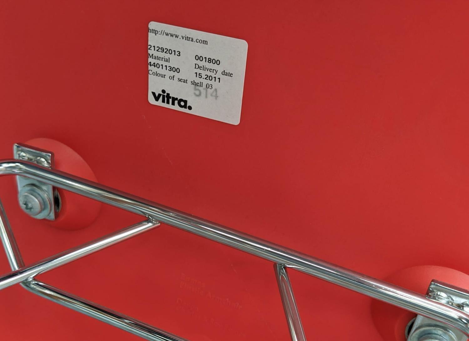 VITRA RAR ROCKING CHAIR, by Charles and Ray Eames, red, 62cm x 70cm H.(scratch to front) - Image 4 of 4