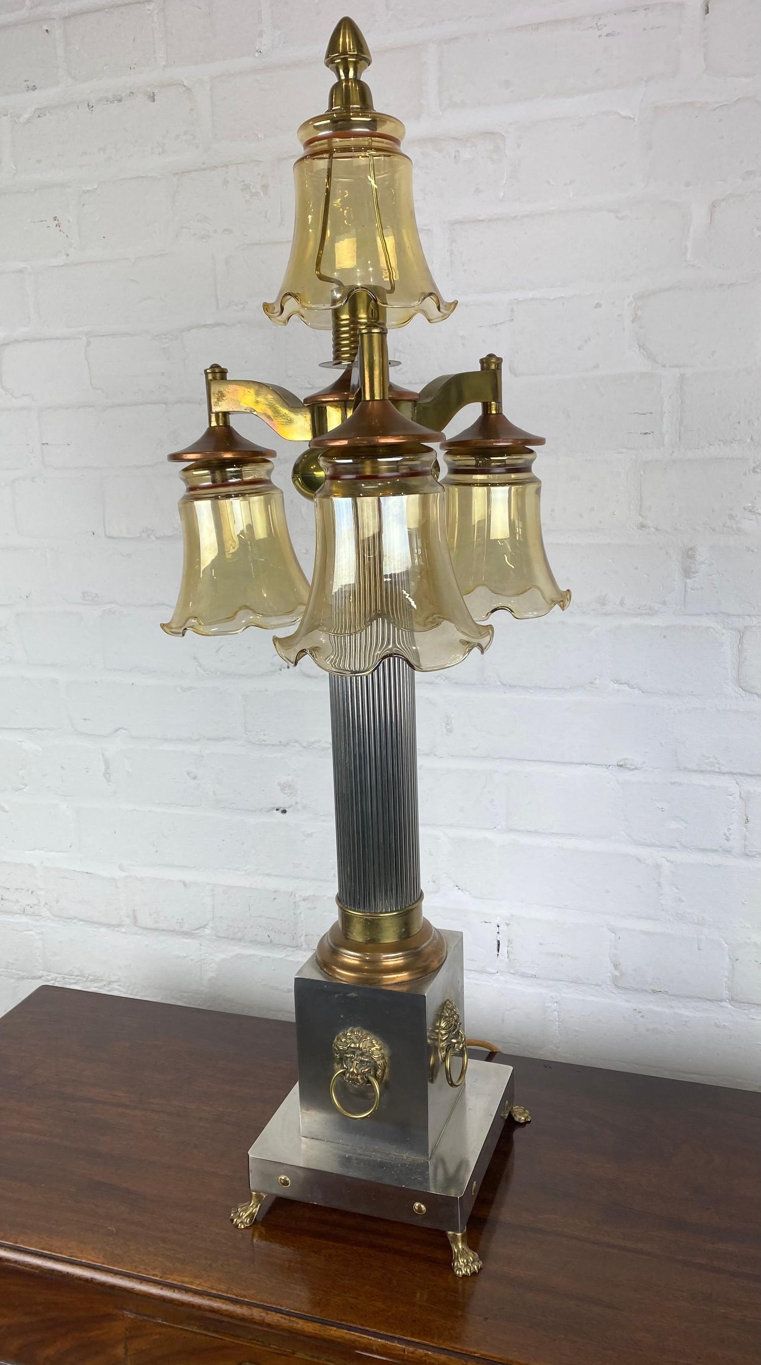 COLUMN HALL LAMP, early 20th century English silver plate, copper and brass four branch, with lion - Image 2 of 8