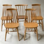 DINING CHAIRS, a set of four beech stick back chairs together with a similar Ercol chair, 79cm H. (