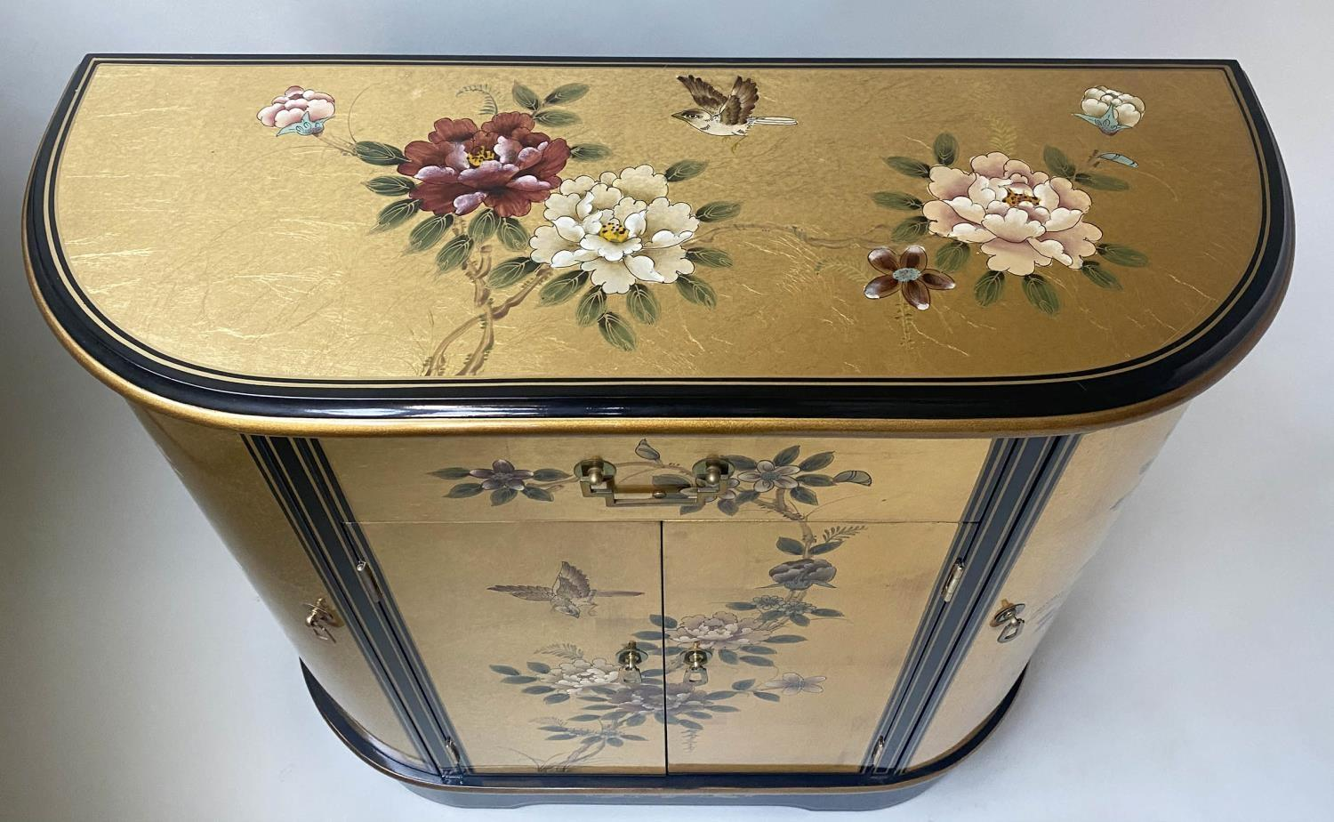 SIDE CABINET, 20th century Chinese D outline gilt lacquer and flower decorated with drawer and - Image 9 of 9