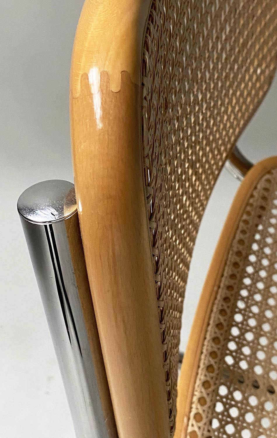 AFTER MARCEL BREUER DINING CHAIRS, Cesca style chairs, a set of six beech wood cane paneled and - Image 4 of 11