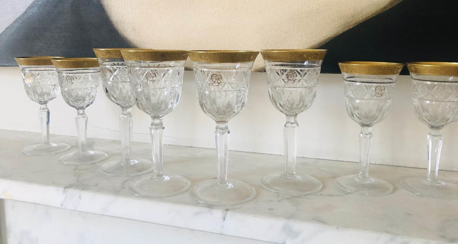 GLASSWARE, eight cut crystal patterned gilded tops, two sets of four, 18cm H and 16cm H. (8) - Image 3 of 4