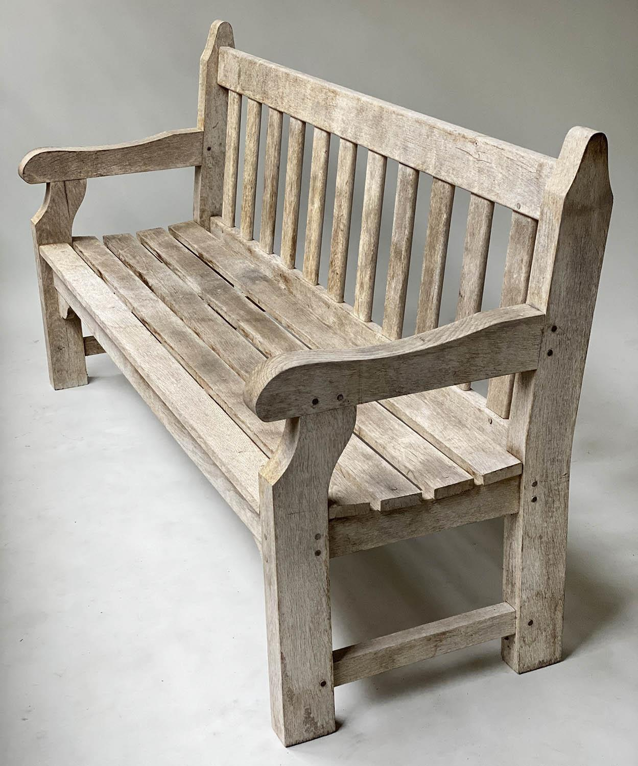 ENGLISH GARDEN BENCH, weathered English oak of substantial and slatted construction, 168cm W. - Image 5 of 8