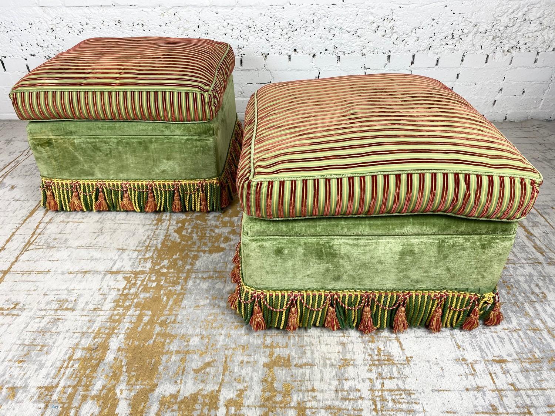 OTTOMANS, a pair, striped silk and green velvet upholstered with tasseled bullion fringes, 47cm H