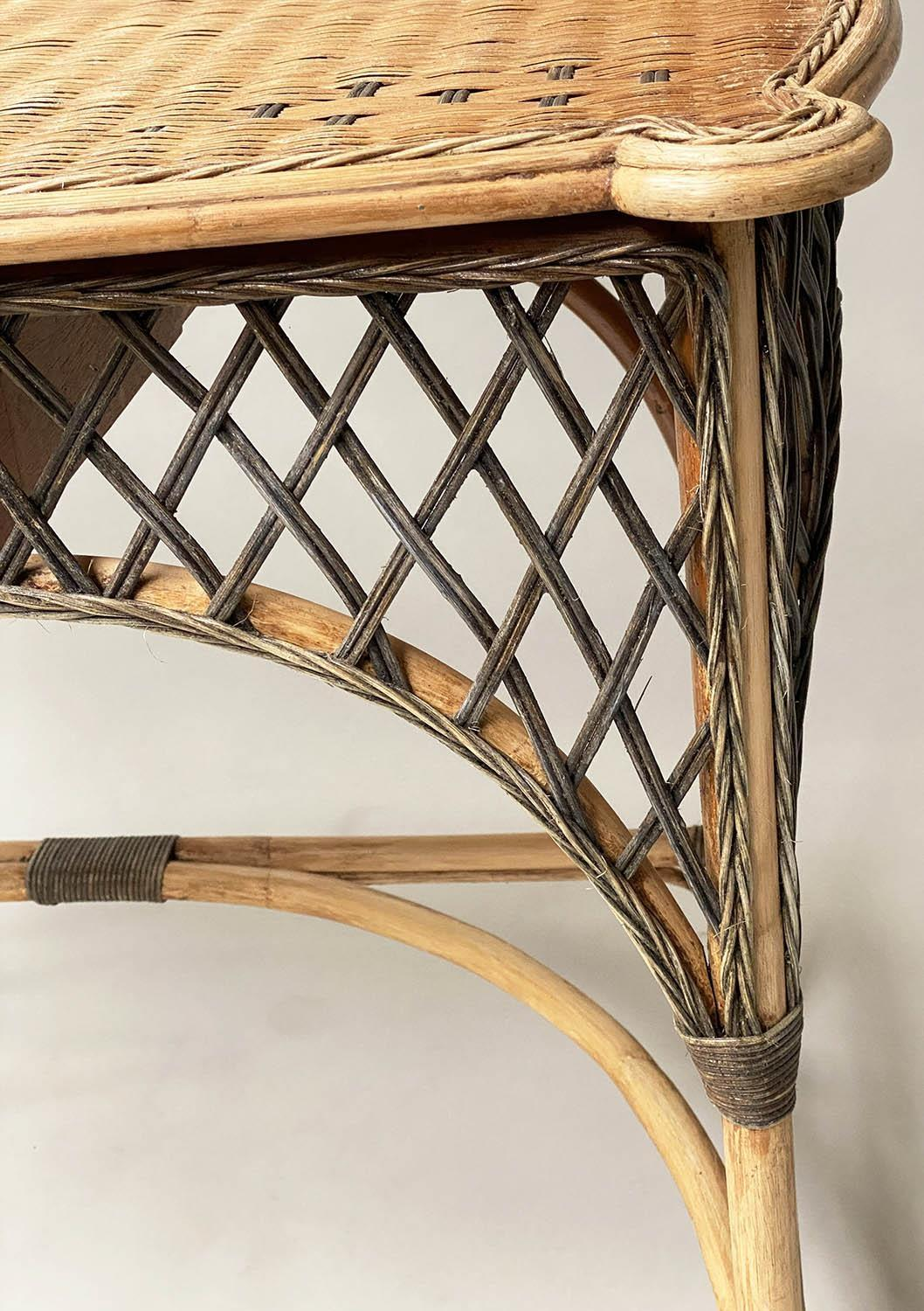 SIDE/WRITING TABLE, vintage Ralph Lauren style two tone rattan with gallery and frieze drawer, 103cm - Image 3 of 6