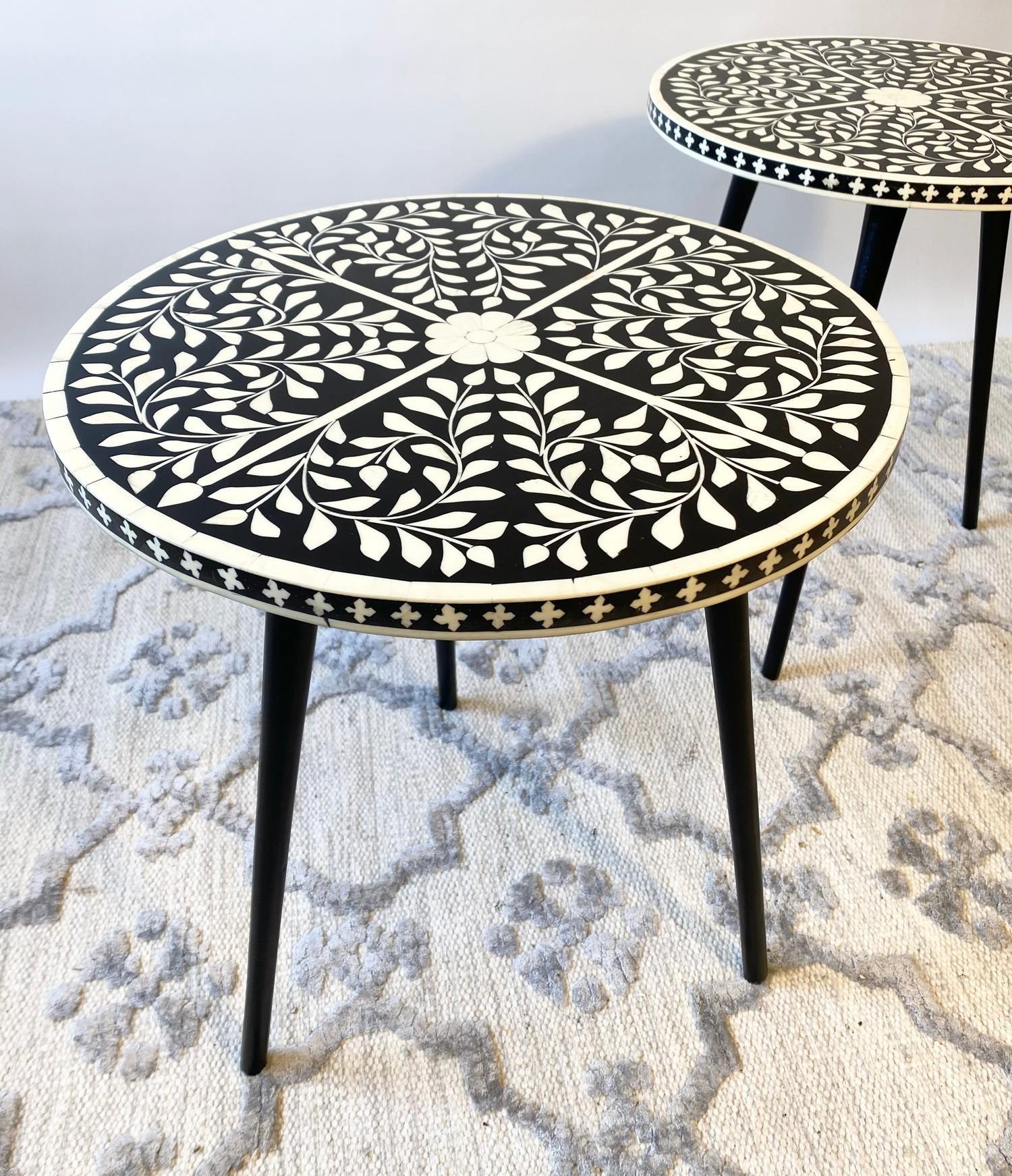 LAMP TABLES, a pair, Moorish design inlaid tops on tripod metal legs, 47cm H x 41cm x 41cm. (2) - Image 2 of 5