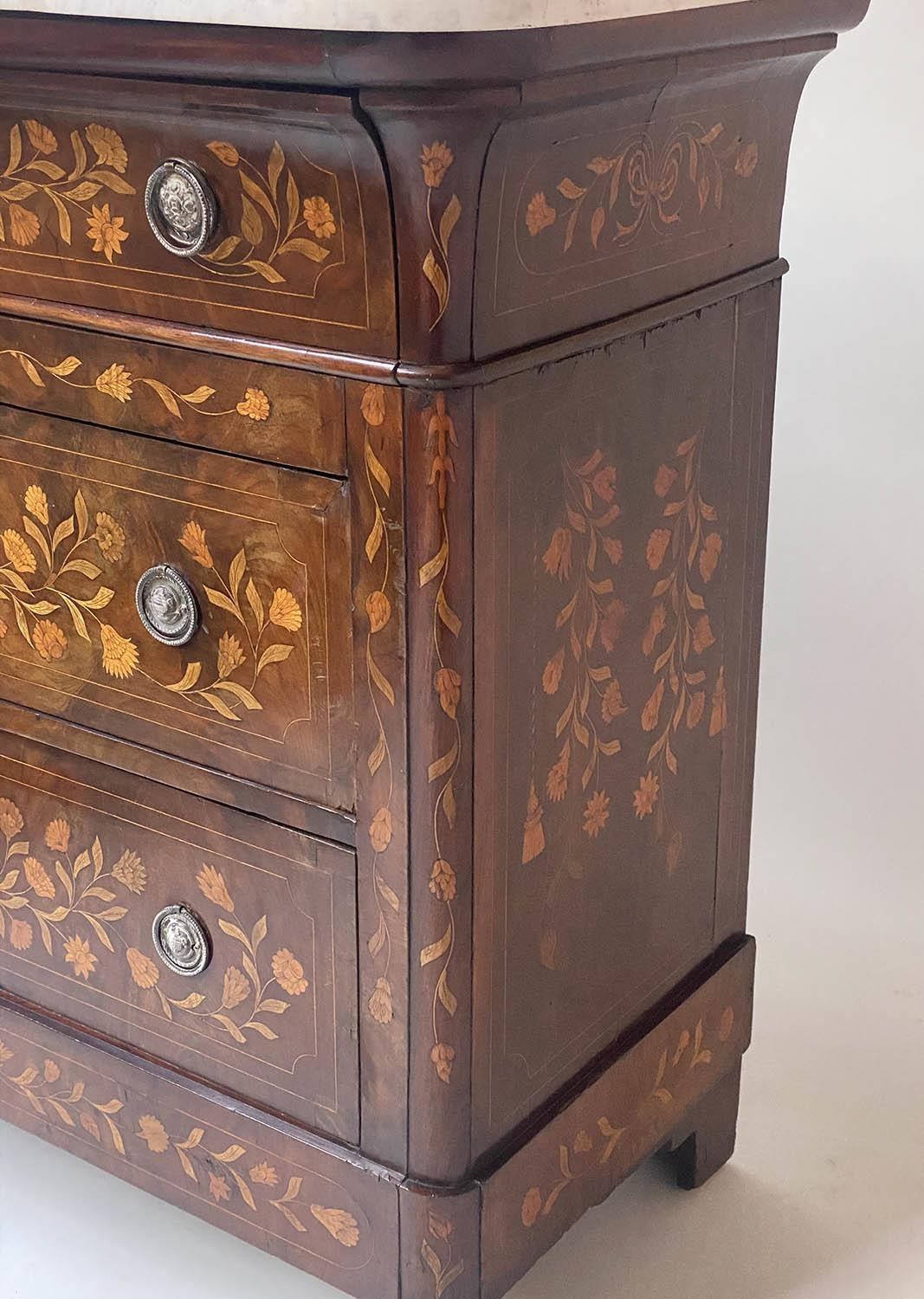 DUTCH COMMODE, 19th century mahogany and foliate satinwood inlaid with variegated white marble and - Image 3 of 8