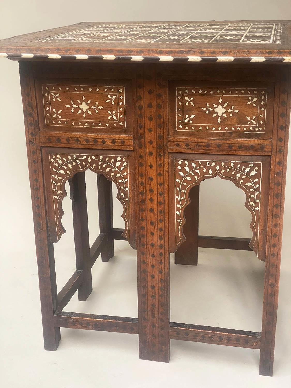 LAMP TABLE, Early 20th century Syrian square hardwood and ebony inlaid with conforming arched - Image 5 of 5