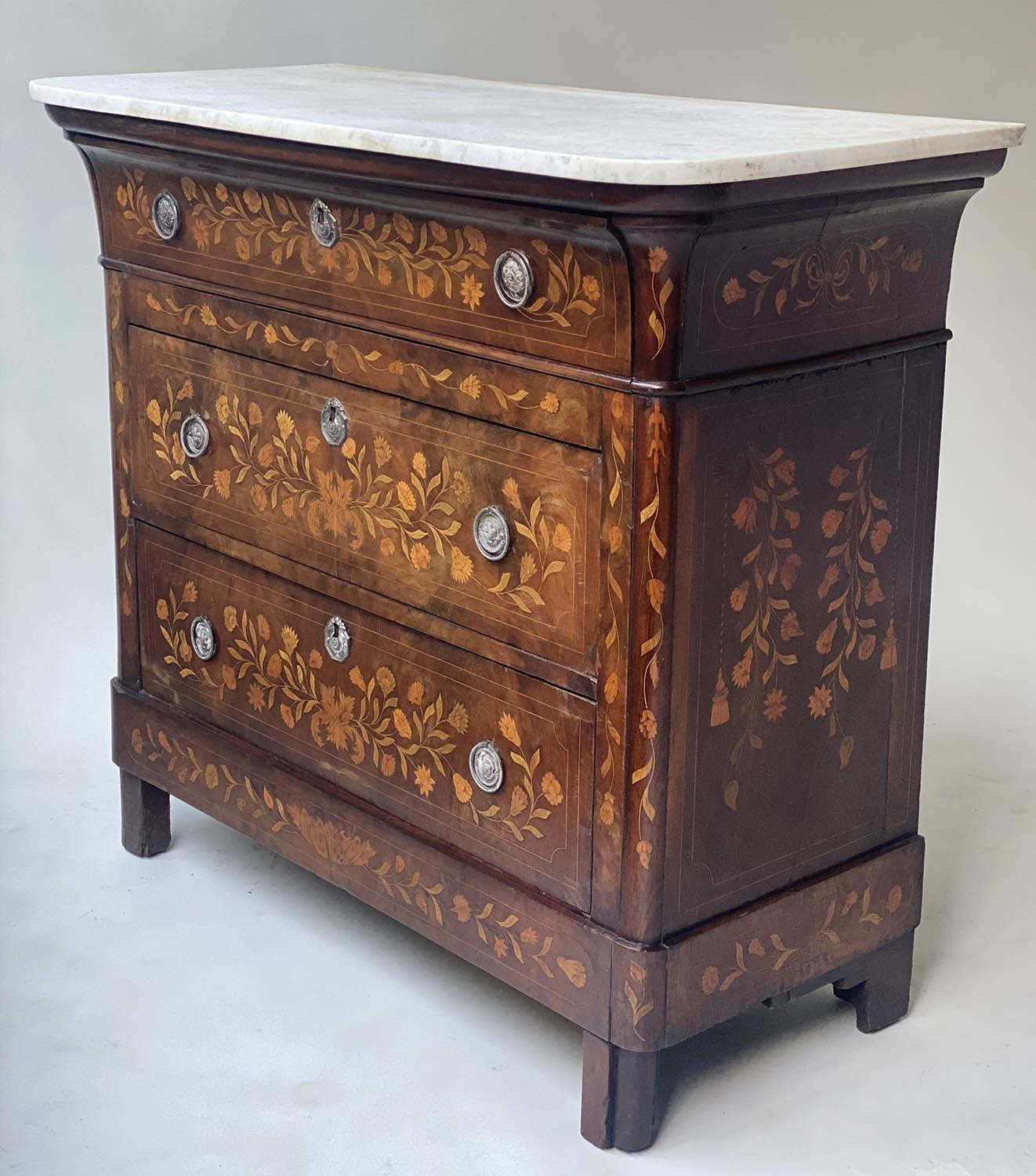 DUTCH COMMODE, 19th century mahogany and foliate satinwood inlaid with variegated white marble and - Image 2 of 8