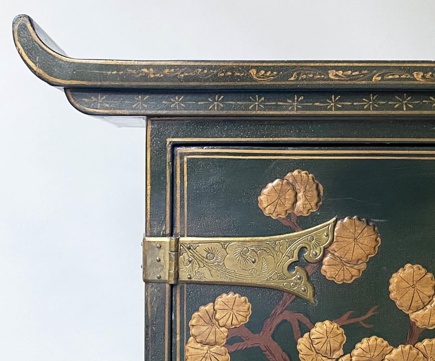CABINET ON CHEST, 20th century dark green lacquer, gilt metal mounted and Chinoiserie decorated in - Image 9 of 9