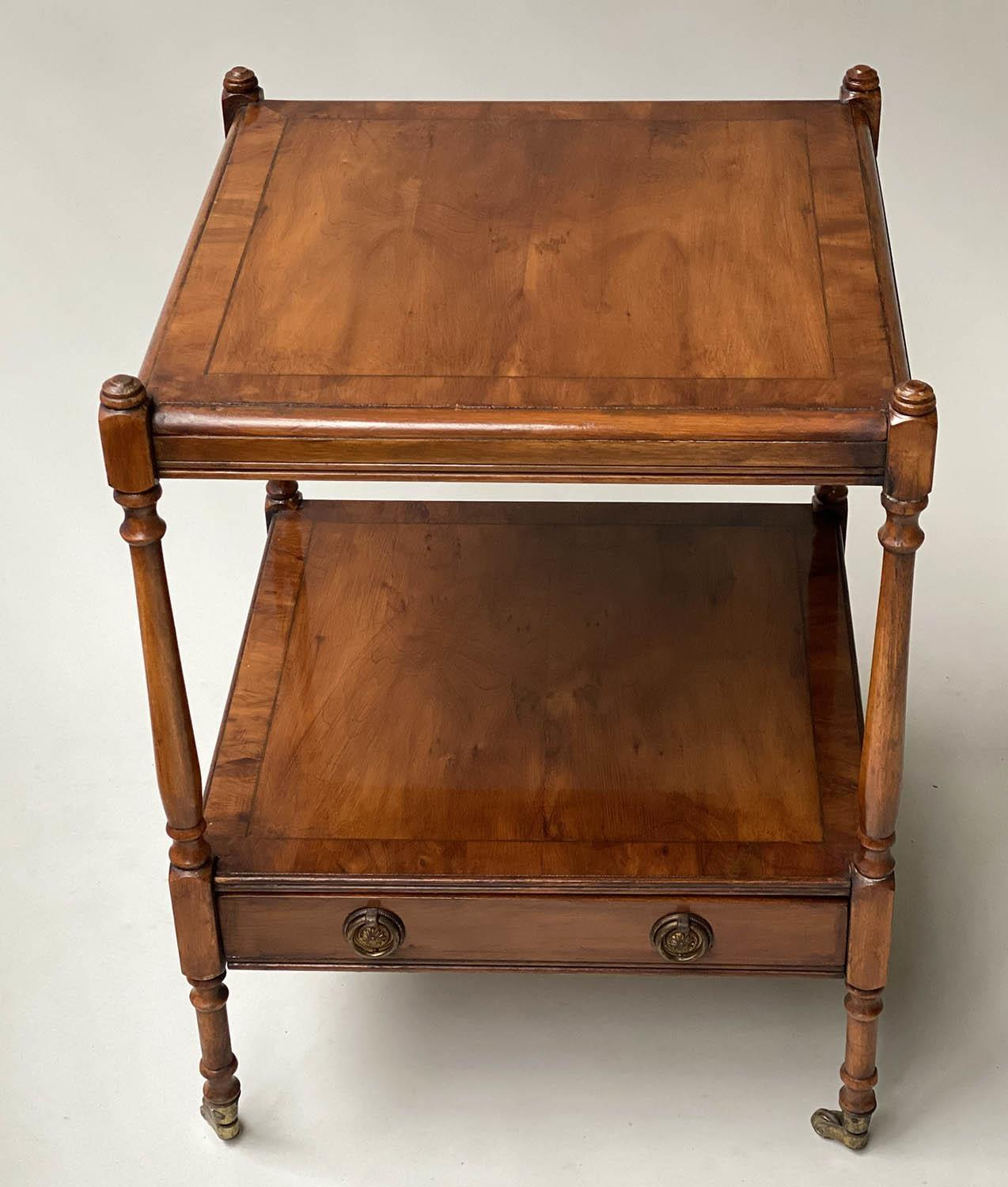 LAMP TABLES, a pair, George III style yewwood of two tiers, each with drawer, 45cm x 45cm x 60cm - Image 6 of 6